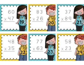 Multiplication Task Cards {2-Digit by 2-Digit} for Test Prep, Centers, or Scoot