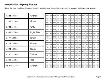 Multiplication: 2-Digit by 2-Digit - Color-By-Number Mystery Pictures