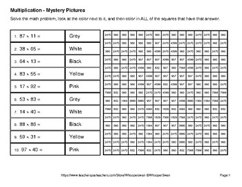Multiplication: 2-Digit by 2-Digit - Color-By-Number Math Mystery Pictures