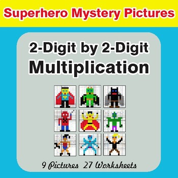 Multiplication: 2-Digit by 2-Digit - Color-By-Number Superhero Mystery Pictures