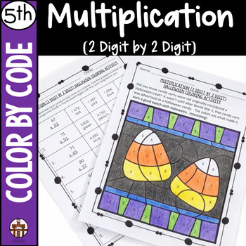 Multiplication (2 Digit by 2 Digit) Halloween Coloring Activity
