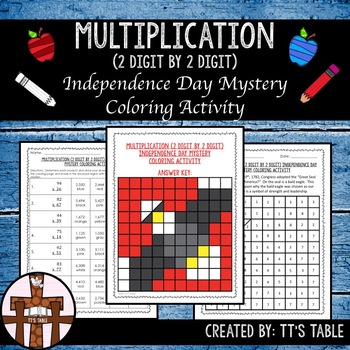 Multiplication (2 Digit by 2 Digit) Independence Day Mystery Coloring Activity
