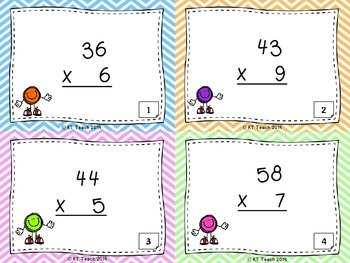 Multiplication: 2 Digits by 1 Digit Task Cards