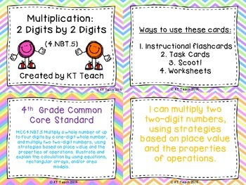 Multiplication 2 Digits by 2 Digits Task Cards