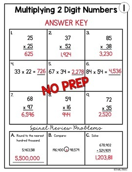 Multiplication 2 Digit by 2 Digit Worksheets