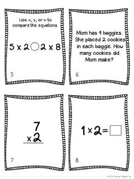 Multiplication:  2 Facts Task Cards & 10 Activity Pages