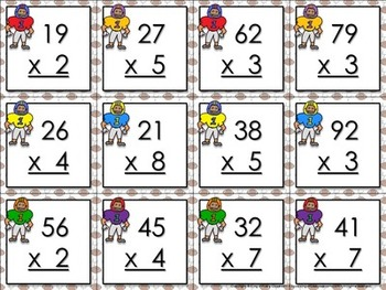 Multiplication: 2-digit by 1-digit Matching Game Sort - Football - King Virtue