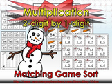 Multiplication: 2-digit by 1-digit Matching Game Sort - Winter Snowman
