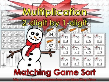 Multiplication: 2-digit by 1-digit Matching Game Sort - Winter Snowman