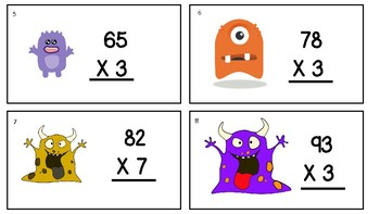 Multiplication 2 digit by 1 digit SCOOT GAME