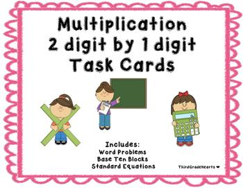 Multiplication 2 digit by 1 digit Task Cards