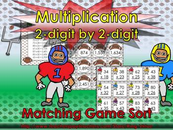 Multiplication: 2-digit by 2-digit Matching Game Sort - Fo