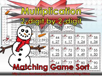 Multiplication: 2-digit by 2-digit Matching Game Sort - Winter Snowman