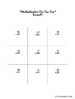 Multiplication: 2-digit by 2-digit Tic Tac Toe