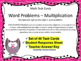 Multiplication 2 digit by 2 digit Word Problems Task Cards