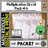 Multiplication 2 digit x 1 digit Math with Riddles Pack #1-6
