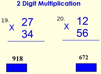 Multiplication 2 digits times 2 digits practice:  Smart Bd & PowerPoint