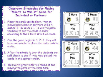 I HAVE WHO HAS Bundle 8 Math Games Multiplication 2-9 Facts Learning Center