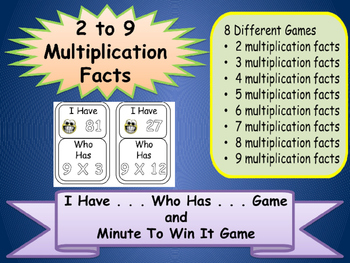 I HAVE WHO HAS Bundle 8 Math Games Multiplication 2-9 Fact