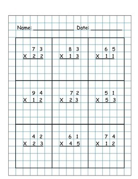 Multiplication 2 x 2 Digit NO Regrouping Graph 5 Multiply Worksheet Packet