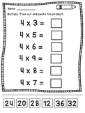 Math Facts Fluency Practice Multiplication Cut and Paste