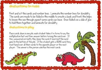 Multiplication card game- Dinsaur Roar