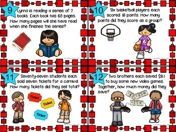 Multiplication 2-Digit x 1-Digit Word Problem Task Cards
