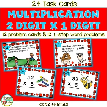 2 Digit Multiplication One-Step Word Problems Practice