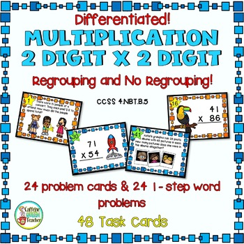 2 Digit Multiplication With and Without Regrouping - Diffe