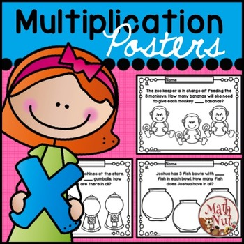 """Multiplication Word Problems """"Students Color Posters to Create Problems"""""""