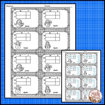 Winter Math: Multiplication Area Model 2 digit by 2 digit