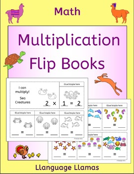 Multiplication Flip Books - Times Tables 2 to 10 - cute animal graphics