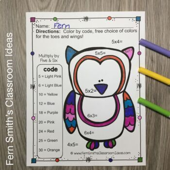 Color By Numbers Funky Owls Multiplication