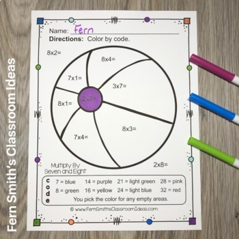 Color By Numbers Vacation Fun Math Multiplication