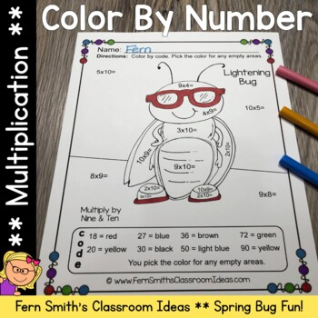 Color By Numbers Spring Bug Fun Multiplication