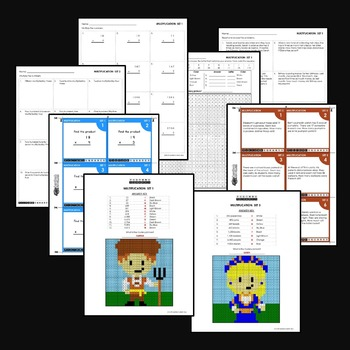Multiplication Worksheets for 4th Grade, Math Review Packets Coloring Sheets