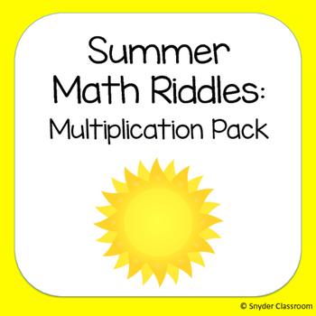Summer Multiplication Math Riddles