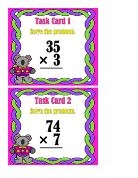 Multiplication 2Digit/1Digit Task Cards Set 2