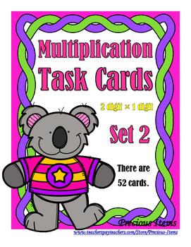 Multiplication 2Digit/1Digit Task Cards Set 2