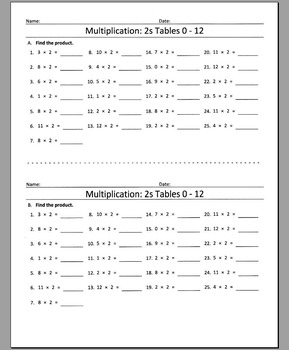 Multiplication: 2s Tables 0 - 12