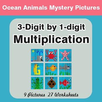 Multiplication: 3-Digit by 1-Digit - Color-By-Number Myste