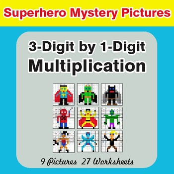 Multiplication: 3-Digit by 1-Digit - Color-By-Number Superhero Mystery Pictures