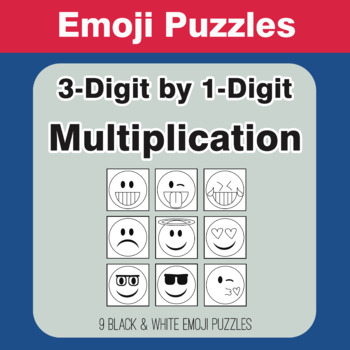 Multiplication: 3-Digit by 1-Digit - Emoji Picture Puzzles