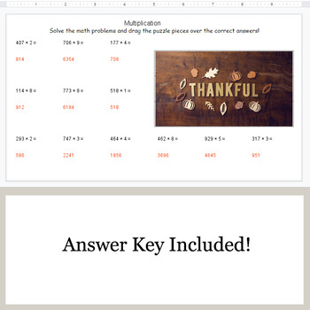 Multiplication 3-Digit by 1-Digit - Google Slides - Thanksgiving Puzzles