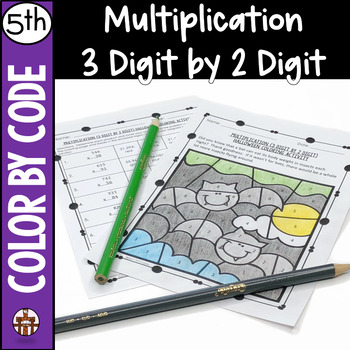 Multiplication (3 Digit by 2 Digit) Halloween Coloring Activity