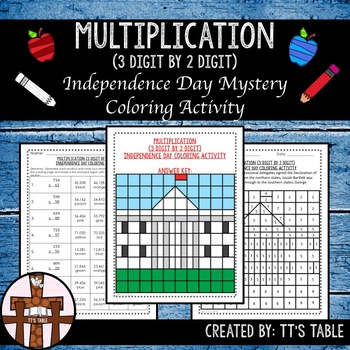 Multiplication (3 Digit by 2 Digit) Independence Day Coloring Activity