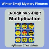 Multiplication: 3-Digit by 2-Digit - Math Mystery Pictures - Winter Emoji