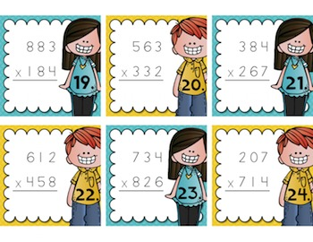 Multiplication Task Cards {3-Digit by 3-Digit} for Test Prep, Centers, or Scoot