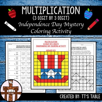Multiplication (3 Digit by 3 Digit) Independence Day Coloring Activity