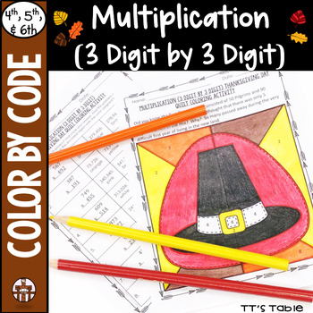 Multiplication (3 Digit by 3 Digit) Thanksgiving Day Quilt Coloring Activity